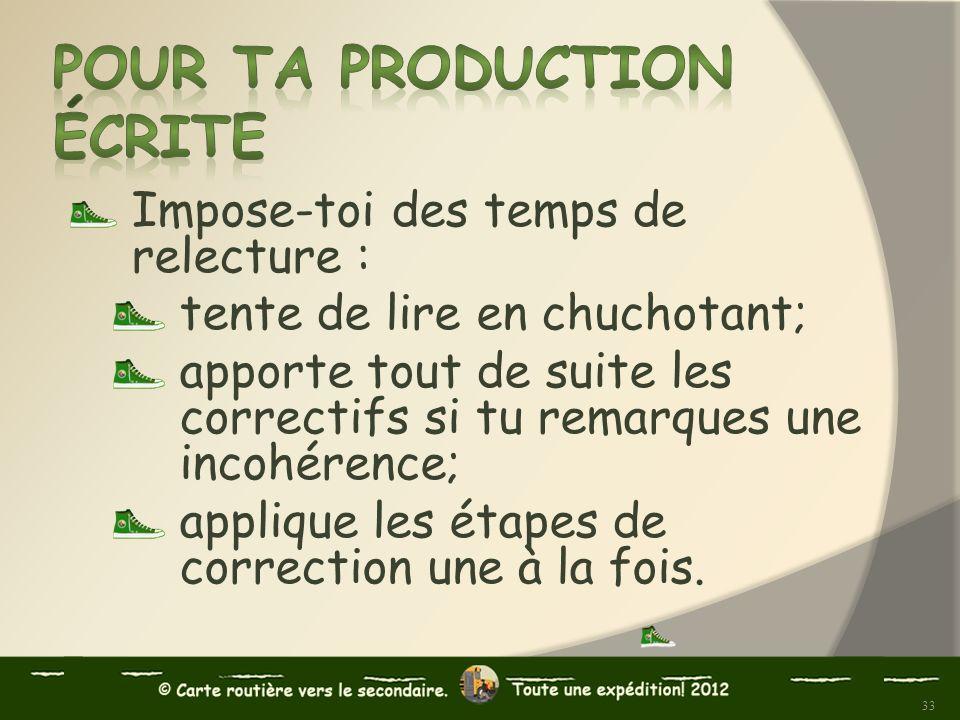 Pour ta production écrite