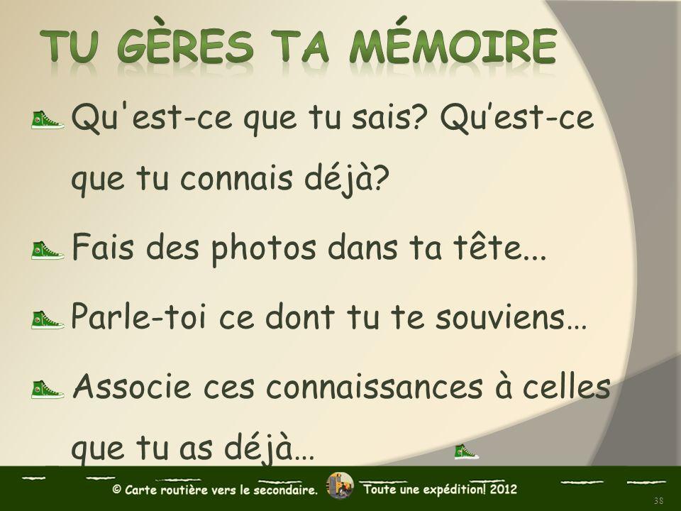 Tu gères ta mémoire Qu est-ce que tu sais Qu'est-ce que tu connais déjà Fais des photos dans ta tête...