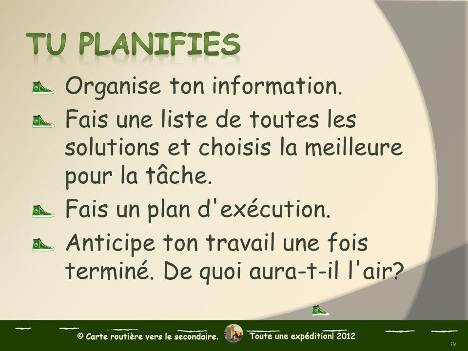 Tu planifies Organise ton information.