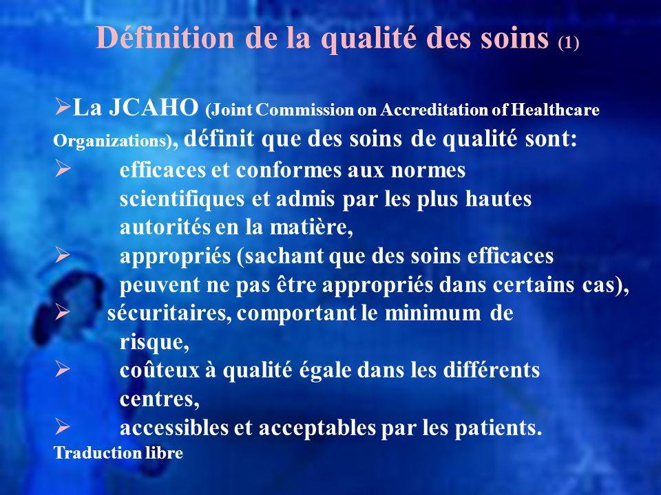 Définition de la qualité des soins (1)