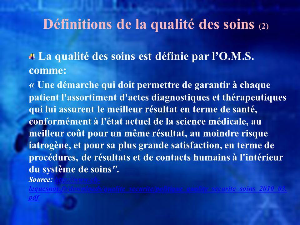 Définitions de la qualité des soins (2)