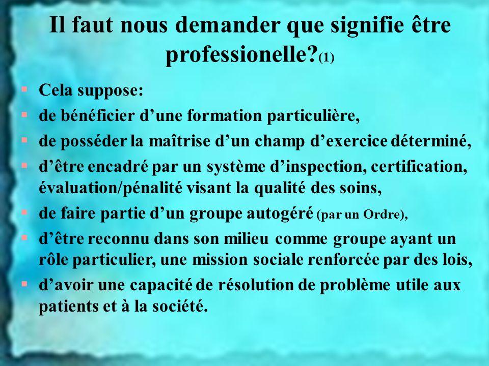 Il faut nous demander que signifie être professionelle (1)