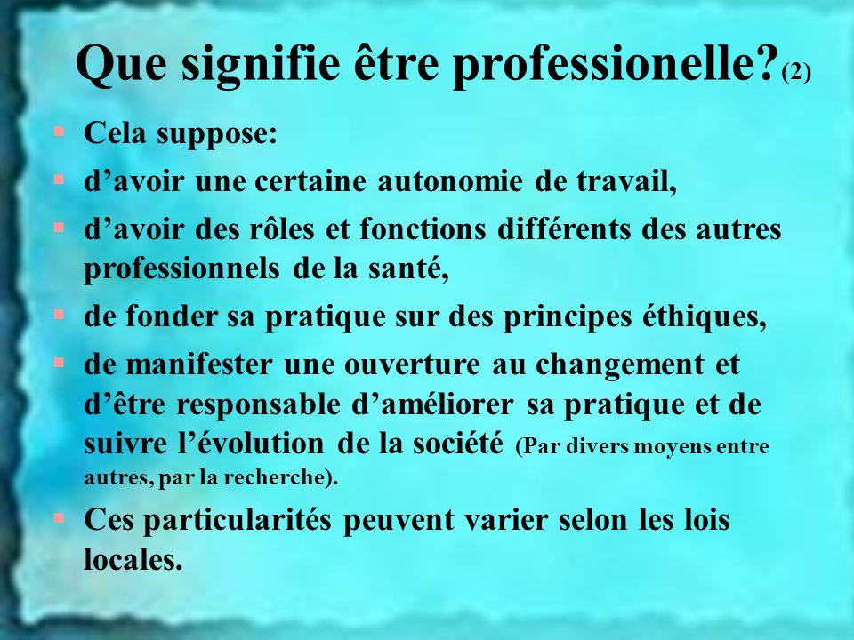 Que signifie être professionelle (2)