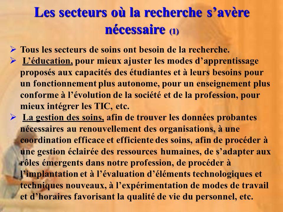 Les secteurs où la recherche s'avère nécessaire (1)