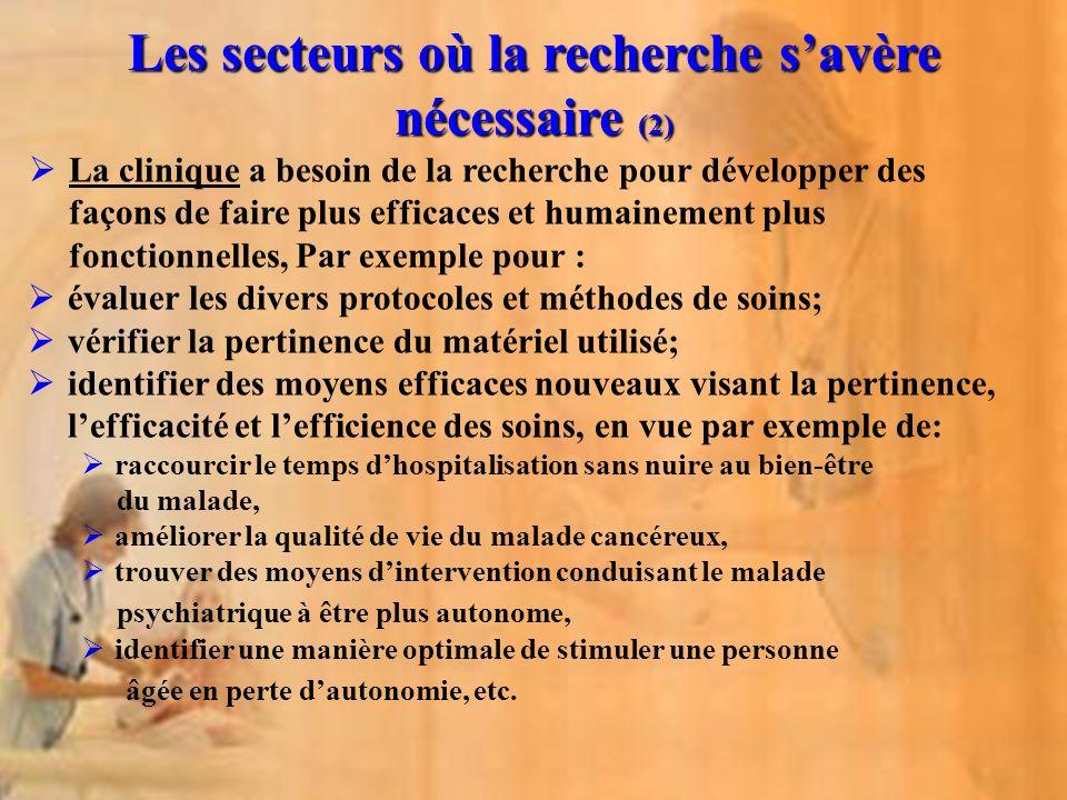 Les secteurs où la recherche s'avère nécessaire (2)