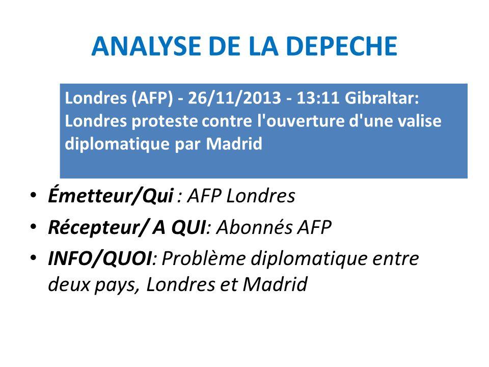 ANALYSE DE LA DEPECHE Émetteur/Qui : AFP Londres