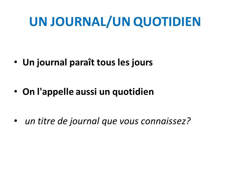 UN JOURNAL/UN QUOTIDIEN