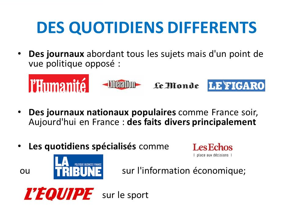 DES QUOTIDIENS DIFFERENTS