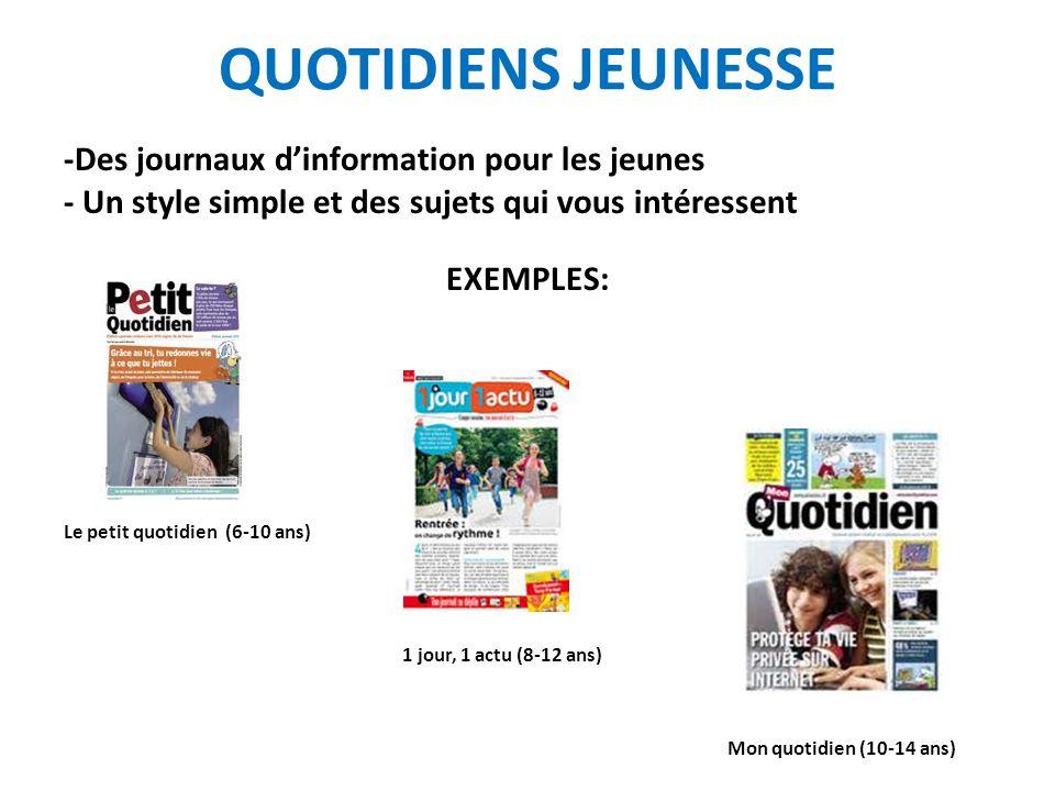 QUOTIDIENS JEUNESSE -Des journaux d'information pour les jeunes