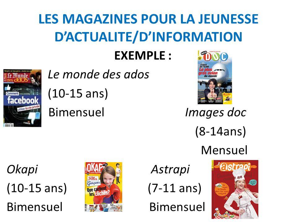 LES MAGAZINES POUR LA JEUNESSE D'ACTUALITE/D'INFORMATION
