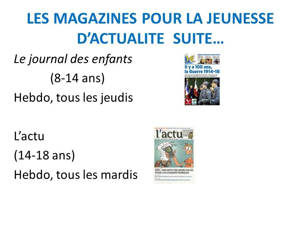 LES MAGAZINES POUR LA JEUNESSE D'ACTUALITE SUITE…