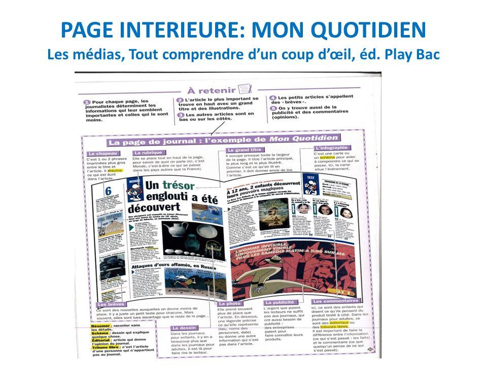PAGE INTERIEURE: MON QUOTIDIEN Les médias, Tout comprendre d'un coup d'œil, éd. Play Bac