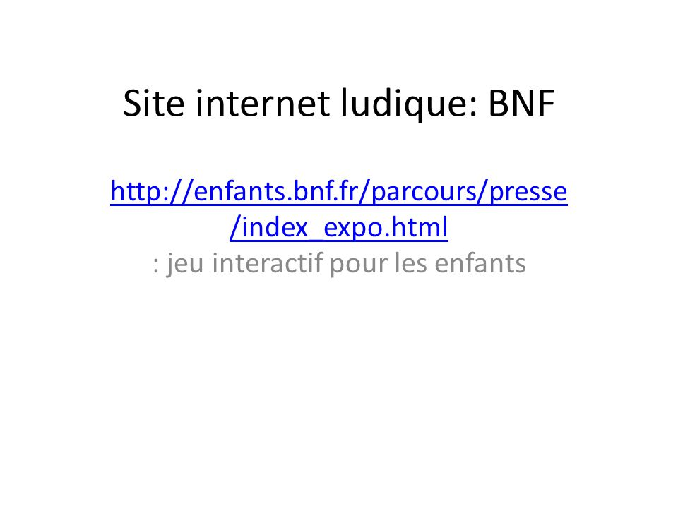 Site internet ludique: BNF
