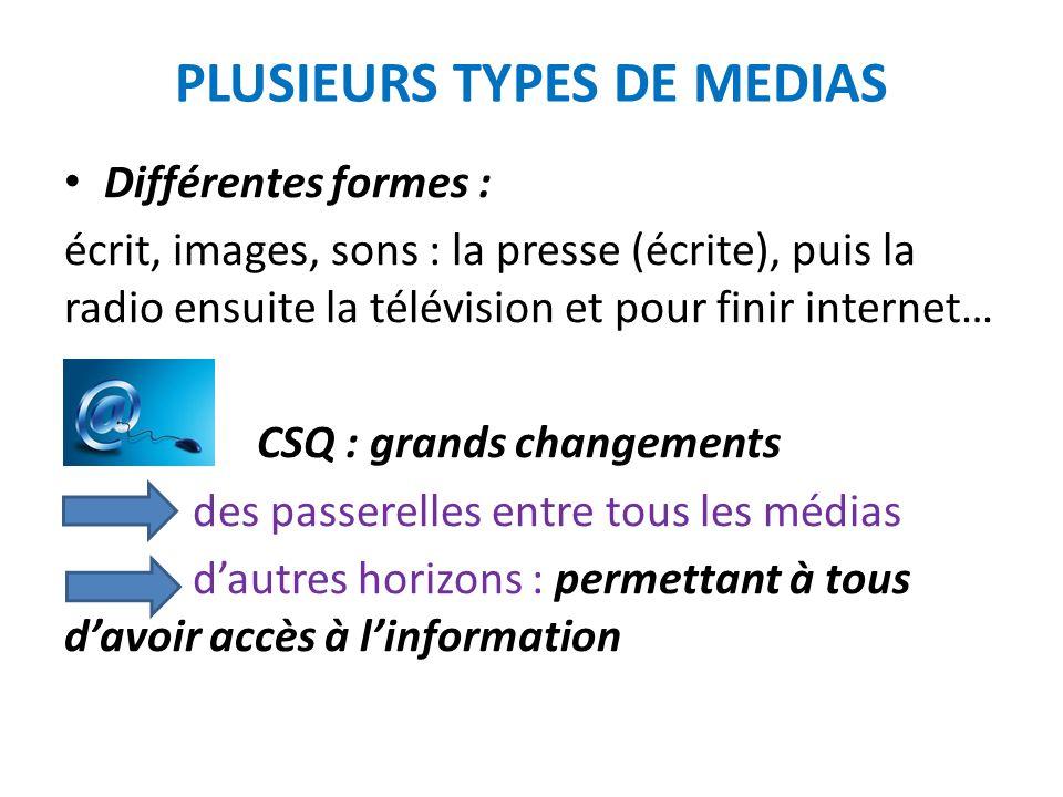 PLUSIEURS TYPES DE MEDIAS