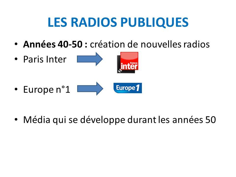 LES RADIOS PUBLIQUES Années 40-50 : création de nouvelles radios