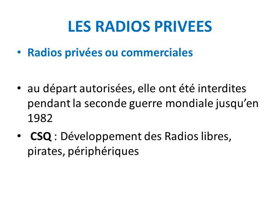LES RADIOS PRIVEES Radios privées ou commerciales