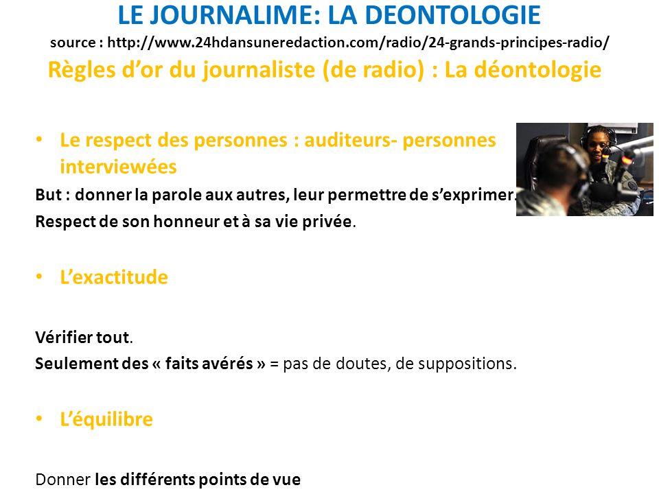 Règles d'or du journaliste (de radio) : La déontologie