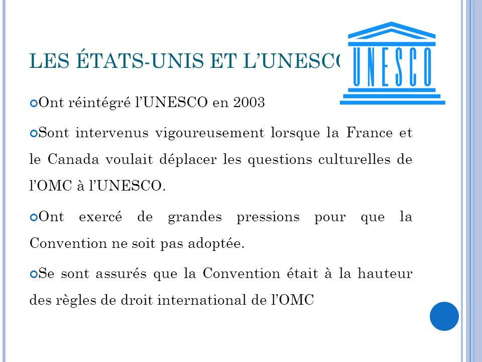 LES ÉTATS-UNIS ET L'UNESCO