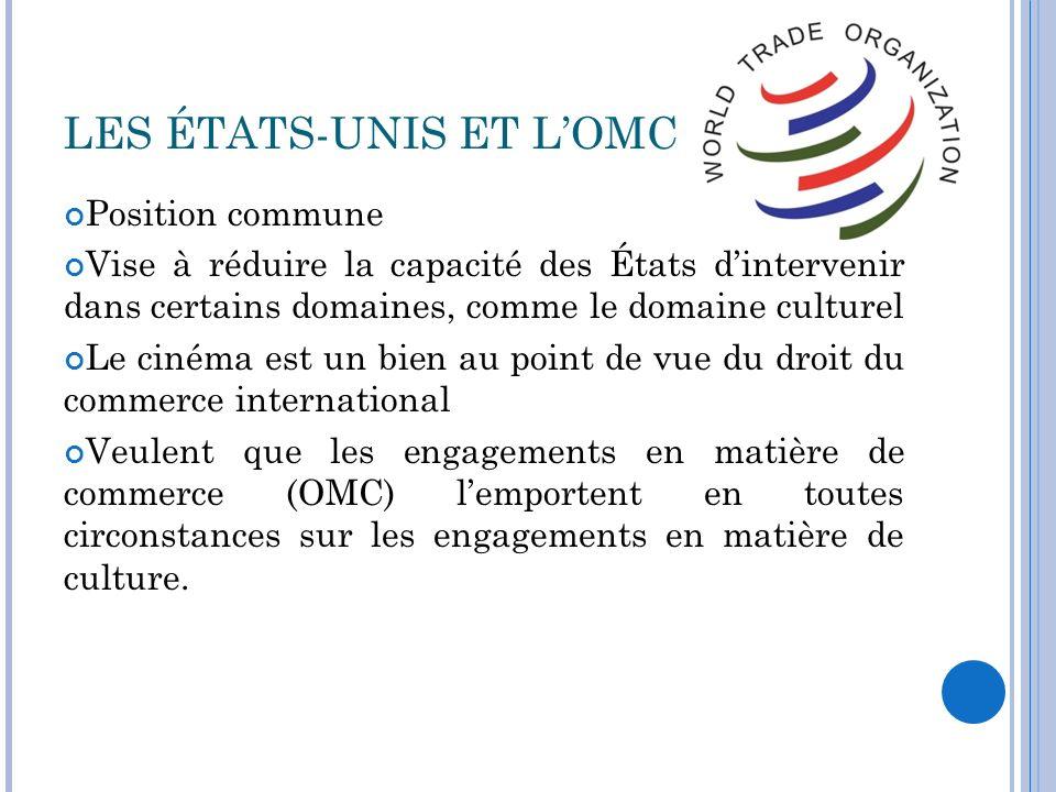 LES ÉTATS-UNIS ET L'OMC