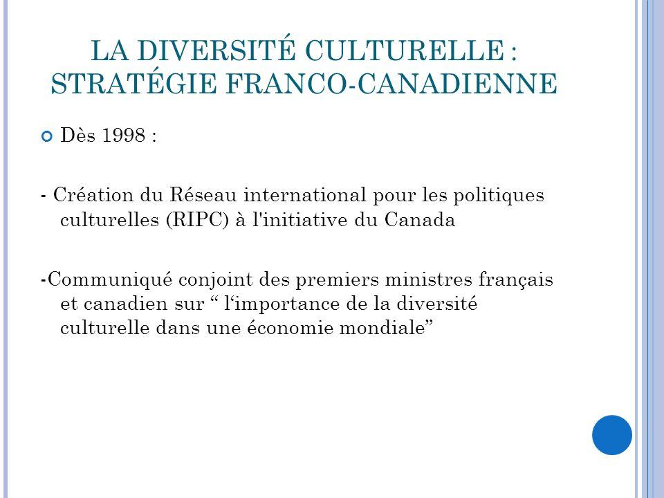 LA DIVERSITÉ CULTURELLE : STRATÉGIE FRANCO-CANADIENNE