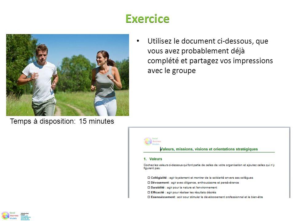 Exercice Utilisez le document ci-dessous, que vous avez probablement déjà complété et partagez vos impressions avec le groupe.