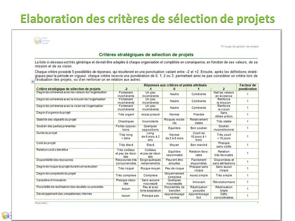 Elaboration des critères de sélection de projets