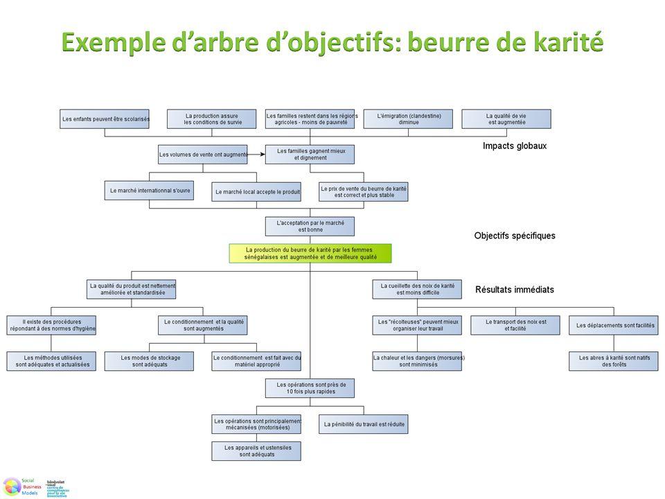 Exemple d'arbre d'objectifs: beurre de karité