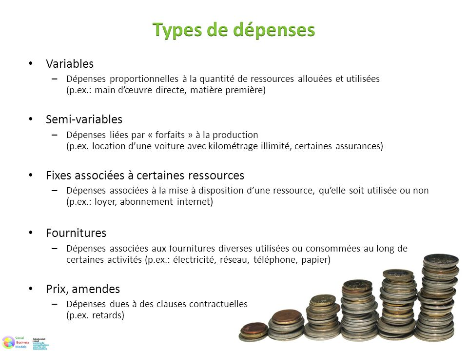 Types de dépenses Variables Semi-variables