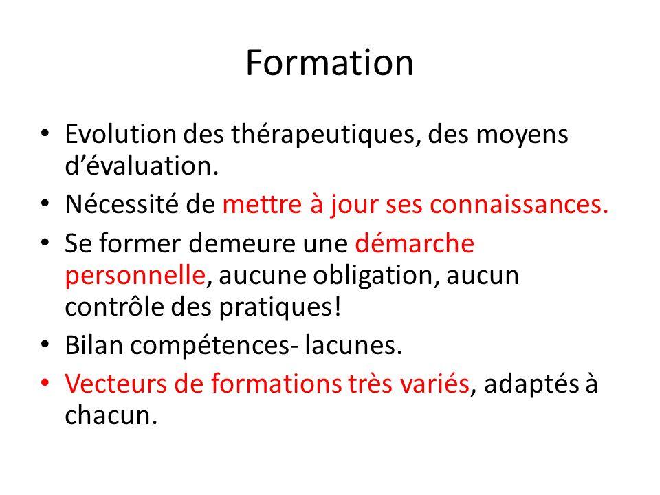 Formation Evolution des thérapeutiques, des moyens d'évaluation.