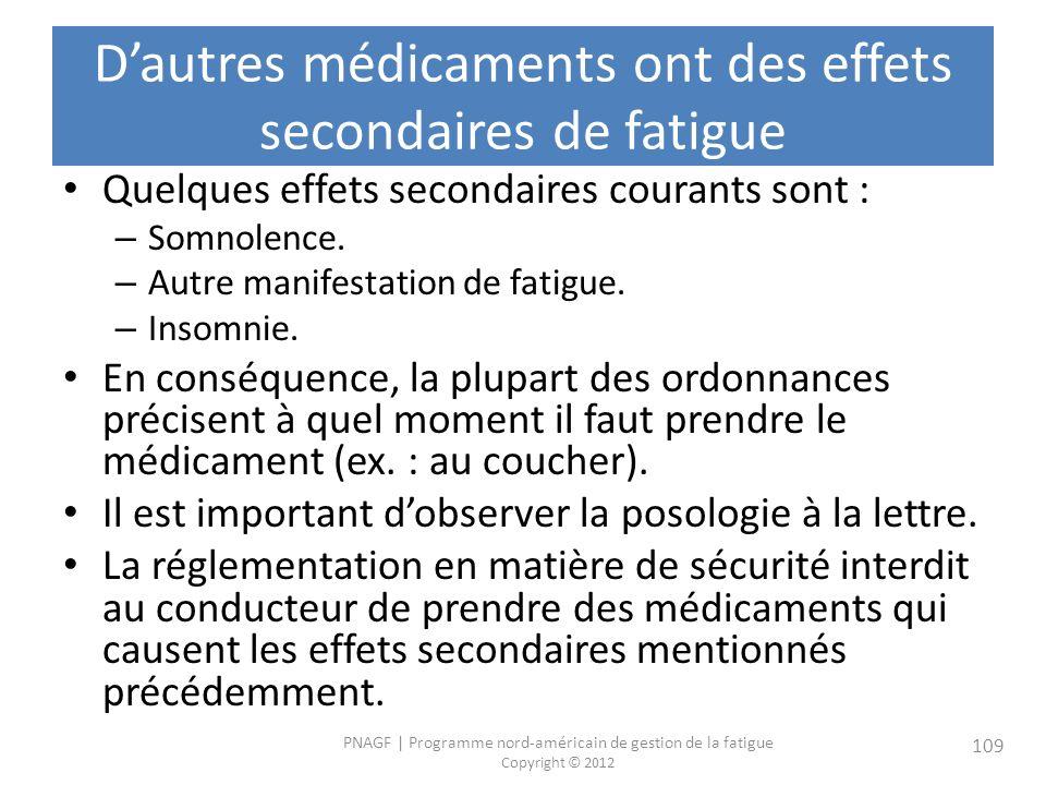 D'autres médicaments ont des effets secondaires de fatigue