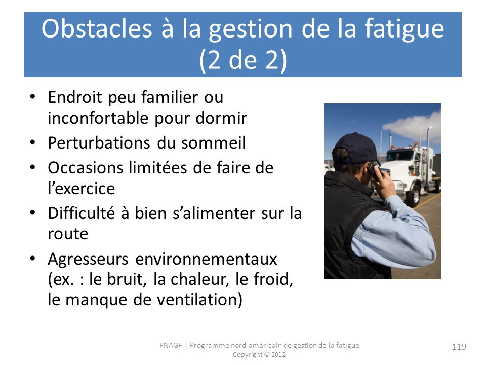 Obstacles à la gestion de la fatigue (2 de 2)