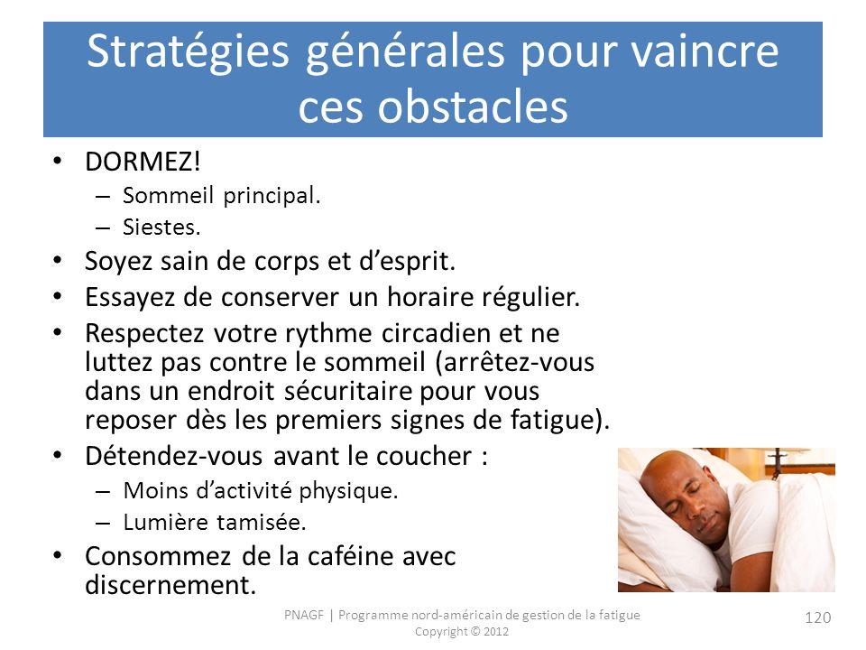 Stratégies générales pour vaincre ces obstacles