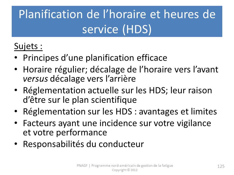 Planification de l'horaire et heures de service (HDS)