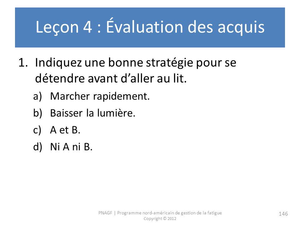 Leçon 4 : Évaluation des acquis