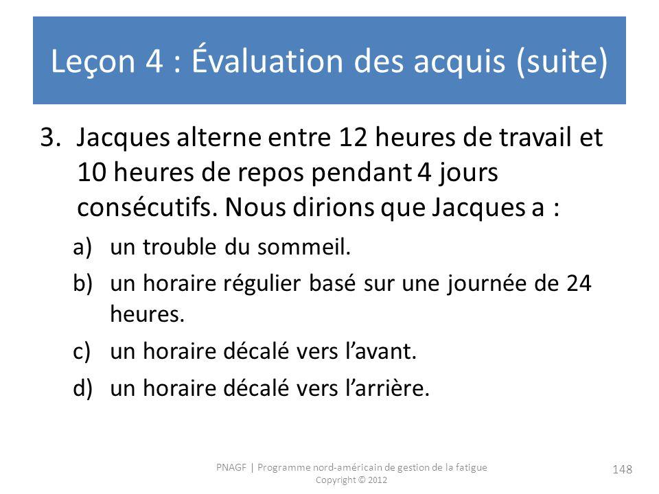 Leçon 4 : Évaluation des acquis (suite)