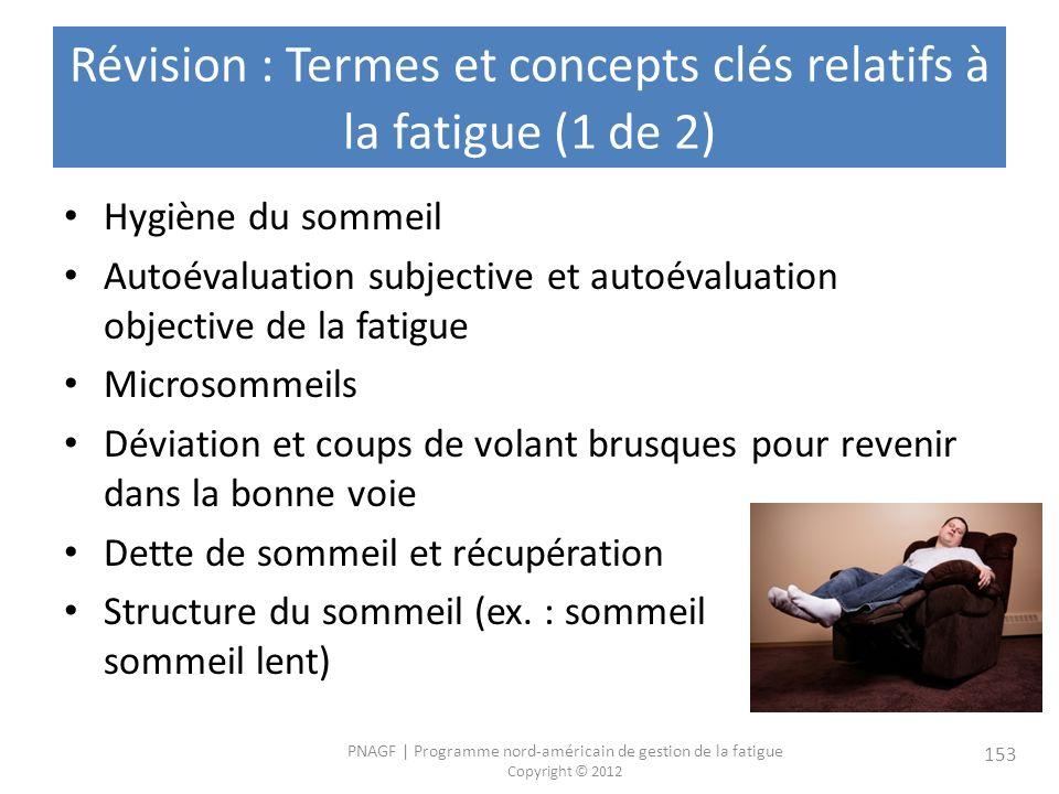 Révision : Termes et concepts clés relatifs à la fatigue (1 de 2)