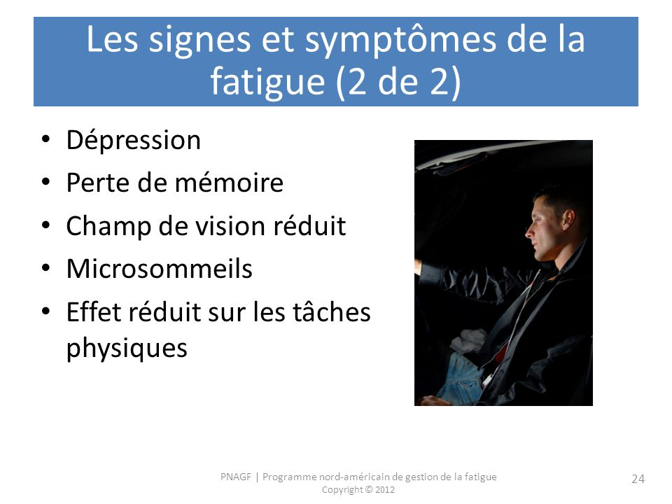 Les signes et symptômes de la fatigue (2 de 2)