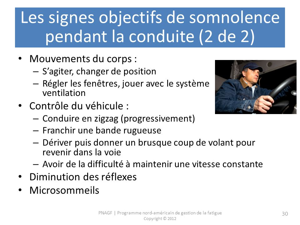 Les signes objectifs de somnolence pendant la conduite (2 de 2)