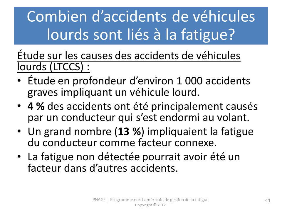 Combien d'accidents de véhicules lourds sont liés à la fatigue