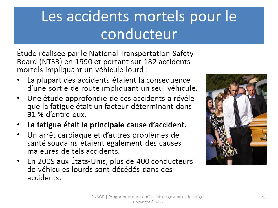 Les accidents mortels pour le conducteur