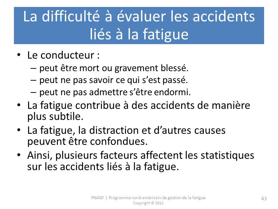 La difficulté à évaluer les accidents liés à la fatigue