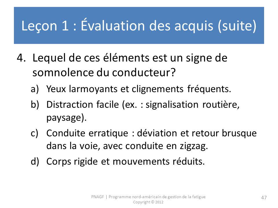 Leçon 1 : Évaluation des acquis (suite)
