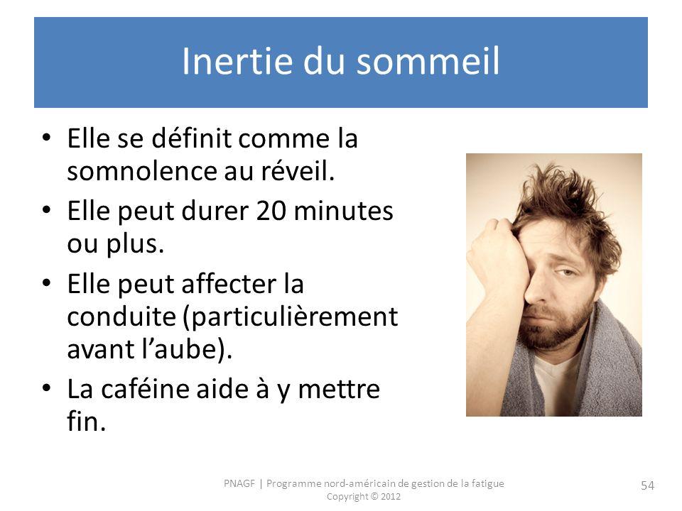 Inertie du sommeil Elle se définit comme la somnolence au réveil.