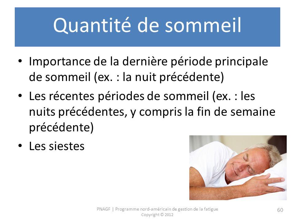 Quantité de sommeil Importance de la dernière période principale de sommeil (ex. : la nuit précédente)