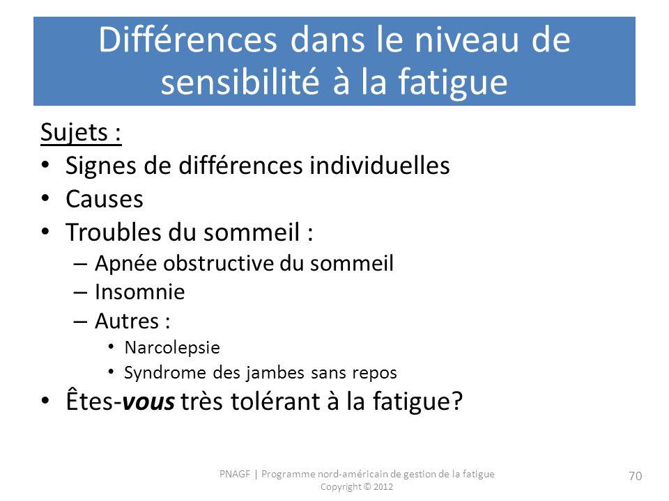 Différences dans le niveau de sensibilité à la fatigue