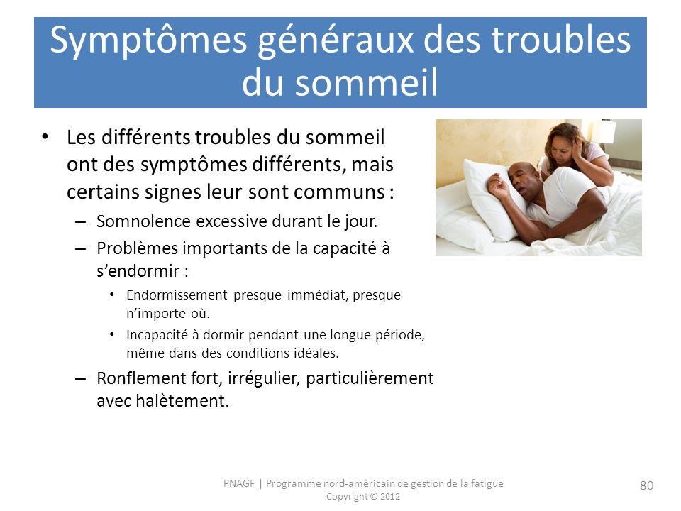 Symptômes généraux des troubles du sommeil