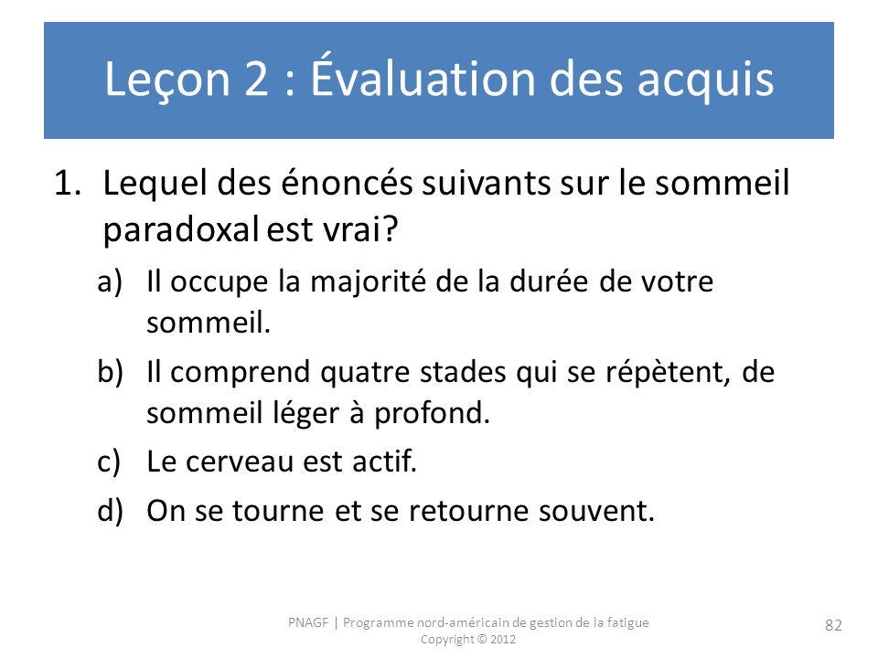 Leçon 2 : Évaluation des acquis