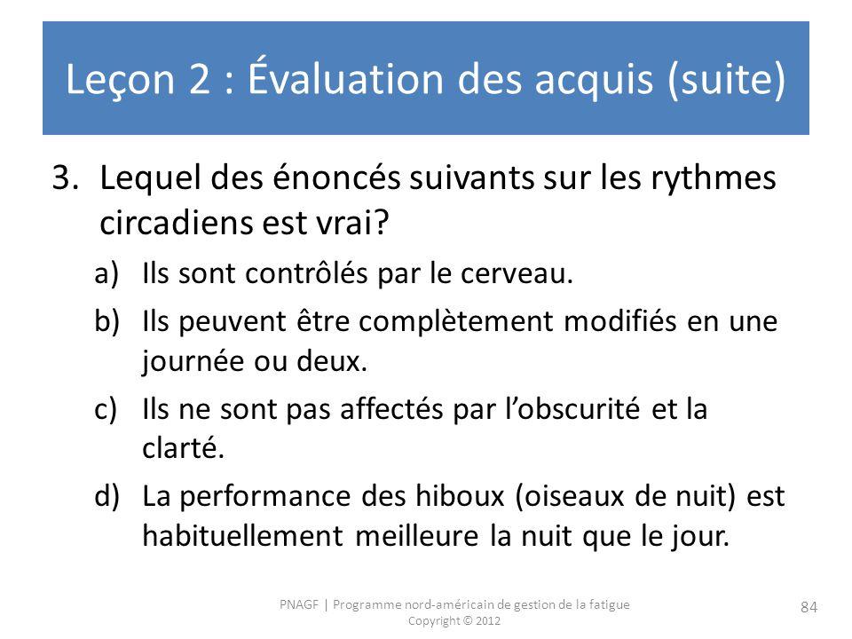 Leçon 2 : Évaluation des acquis (suite)