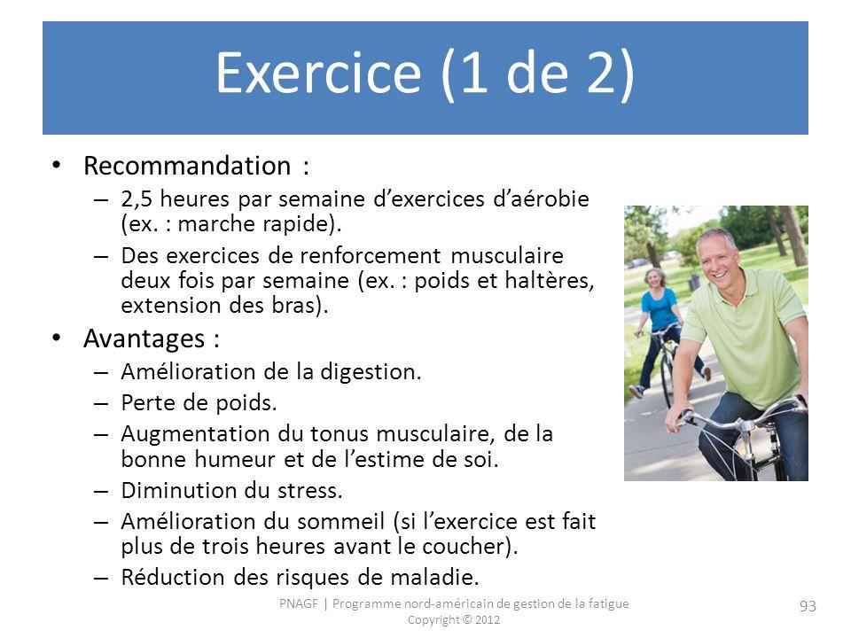 Exercice (1 de 2) Recommandation : Avantages :