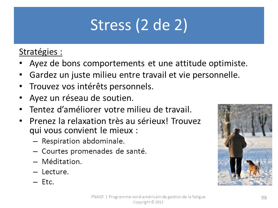 Stress (2 de 2) Stratégies :